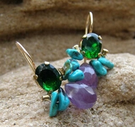 Bee Earrings - Amethyst Purple Earrings, Faceted Green Zircon, Turquoise,14k gold filled, December Birthstone