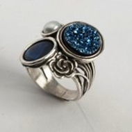 silver rings bohemian blue druze sterling silver ring