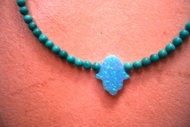 Blue opal hamsa turquoise necklace fits Bat Mitzvah gift