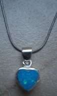 Blue opal heart necklace on a silver chain