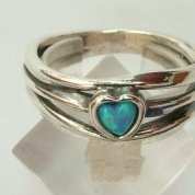 heart silver ring blue opal sterling silver ring
