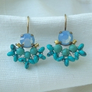 Blue Swarovski earrings dangle floral romantic Bohemian handcrafted earrings