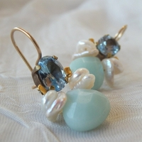 Blue zircon amazonite pearls Gemstones earrings