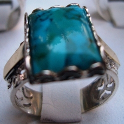 Bluenoemi silver and gold Israeli turquoise ring