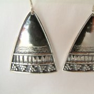 Boho designer silver earrings