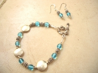 Bracelet and Earrings Set Silver and Turquoise Crystals