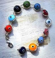 Bracelet evil eye beads multi colour silver bracelet
