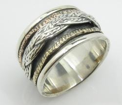 Braided spinner ring for men