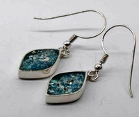 Buy roman glass earrings - roman glass jewellery - colour blue-green