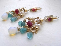 """Chandelier earrings"" "" Gemstones pearls goldfilled "" "" sterling silver""  Video ""Boucles d'orreilles"""