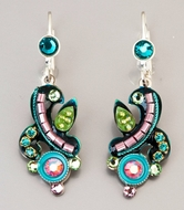Chandelier handcrafted Earrings Blue green colours