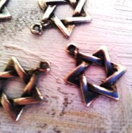 Charms Star of David silver or brass jewish symbol 15mm LOT 10