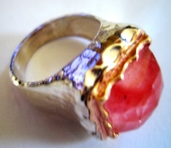 Cherry quartz sterling silver gold ring