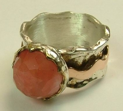 Chery quartz semi precious silver and gold Israeli ring