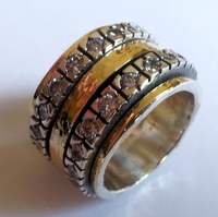 Cubic zirconia ring Cocktail ring Meditation ring silver gold