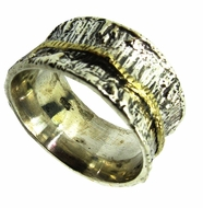 Spinner Ring Contemporary ring two tones silver and gold swivel ring designer jewelry