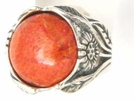 silver ring set coral sterling silver floral ring