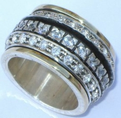 Cubic Zirconia Ring Silver and gold spinning ring