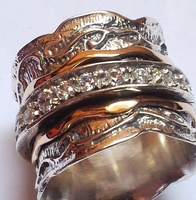 Cubic Zirconia Ring Spinner ring silver gold