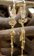 Dangle earrings golden fashion jewelry Video boucles d'orreilles