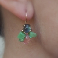 Dangling  Earrings   made of natural Labradorite set on a copper base