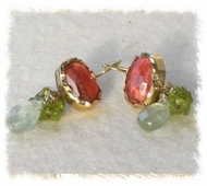 Dangling silver gold earrings cherry quartz