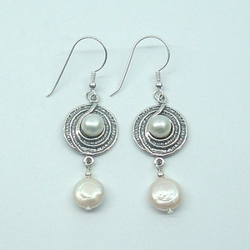 Designer Gift Sterling Silver Earrings with 4 Freshwater Pearls. Lovely Gift for Her .