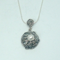Designer Gift Sterling Silver Pendant with Freshwater Pearl