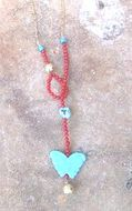 Designer necklace coral turquoise