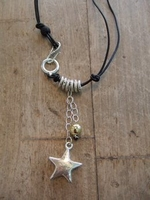 Designer Necklace Leather and Silver