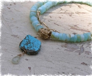 Designer necklace made of colourful peruvian Opal handcrafted with Iowlite,