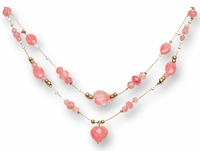 Designer necklace silver and 14K gold with cherry quartz beads