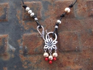 Designer Necklace Silver pendant black leather corals