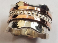 Designer spinner ring sterling silver and 9kt gold