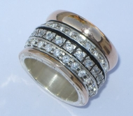 Designer ring silver gold. Cubic Zirconia Ring. Meditation ring set wit cz.