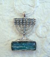Designer roman glass gift of Faith necklace Menorah  Israeli silver jewelry
