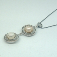 Designer Unique Gift Sterling Silver Necklace with Freshwater Pearls