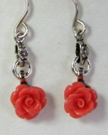 Earrings | Coral sterling silver earrings | Dangle earrings