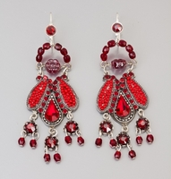 Earrings  Fashion jewelry red colours dangling earrings
