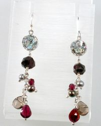 Earrings Israeli silver with roman glass