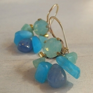 Earrings made of blue Swarovski  Delicate  ocean sky quartz. Blue Kyanite dangles down gently.