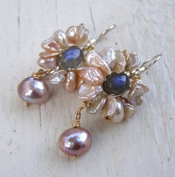 Earrings silver and gold filled set with Faceted Moonstone and Pearls