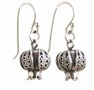 Earrings sterling silver pomegranates filigree