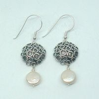 Earrings with Freshwater Pearls Unique Designer 925 Silver Gift