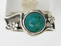 Eilat stone ring sterling silver jewelry daizy flower
