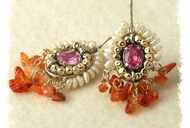 Ethnic dangling earrings carnelian handcrafted pearls