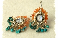 Ethnic earrings carnelian turquoise silver - Moonstone
