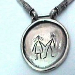 ethnic naif pendant   silver necklace