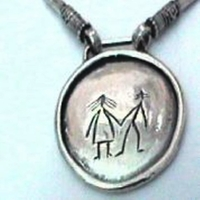 ethnic naif pendant | silver necklace
