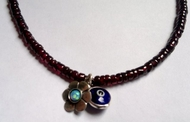 Evil eye garnets necklace sterling silver opal flower
